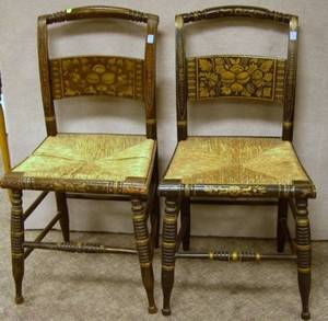 Pair of Hitchcocktype Stencil Decorated Side Chairs