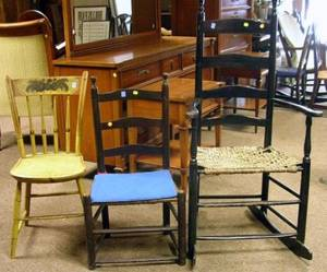 Brown Painted Slatback Side Chair a Black Painted Ladderback Armchair and a Painted Windsor Thumbback Side Chair
