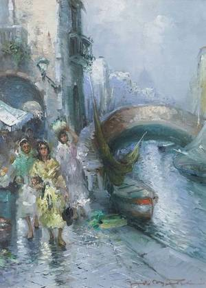 Guido Mantovani Italian b 1916 Venetian Flower Sellers