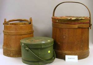 Small Pine Dometop Trunk a Wooden Pail Firkin a Paint Decorated Covered Box with Swing Handle and a Pine Ogee Framed Mirror