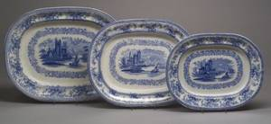 Set of Three Graduated English Blue and White Scenic Transfer Decorated Staffordshire Platters
