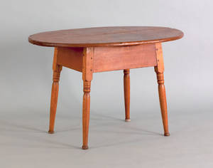 New England pine and butternut tavern table early 19th c