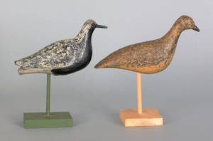 Two black belly plover shore bird decoys early 20th c