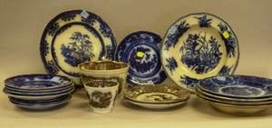 Fourteen Pieces of English Flow Blue Tableware and Four Pieces of Mulberry Decorated Tableware