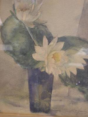 Framed Watercolor Still Life with Water Lilies