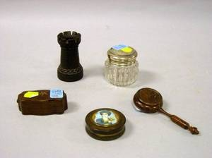 PortraitLidded Horn Snuff Box an Inlaid Rosewood Box a Sterling Lidded Cut Glass Jar a Rosewood Sander and a Miniature Hardwood To
