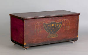 Ohio painted poplar blanket chest attributed to Valentine Yoder ca 1840