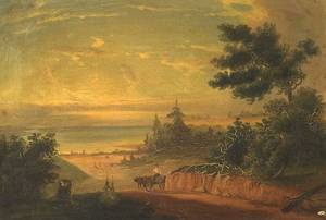 American School 19th Century River Landscape with Wagon and Fisherman