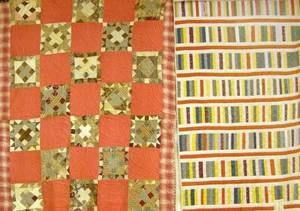 Laurel Bloomery Tennessee Pieced Cotton Quilt and a Pieced Cotton Bar Pattern Quilt
