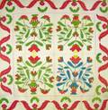 Green and Red Princess Feather Variation Applique Cotton Quilt