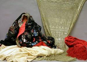 Chinese Embroidered Silk Kimono Red Silk Embroidered Shawl a Late Victorian White Lace and Cotton Nightgown and an Indian Metallic a