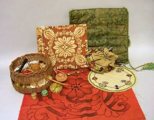 Arts  Crafts Embroidered Linen Doily Pillow Cover Panel and Sewing Bag with Woven Grass Bottom and Contents a Fortuny Printed Fabri