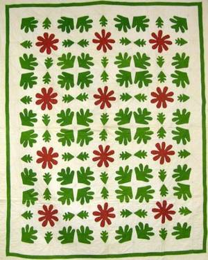 Red and Green Oak Leaf Applique Cotton Quilt