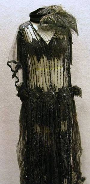 1920s Black Beaded Mesh Dress with Hat and Feathered Embellishments