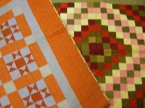 Pennsylvania Red and White Pieced Cotton Quilt and an EightPoint Star Pattern Pieced Cotton Quilt