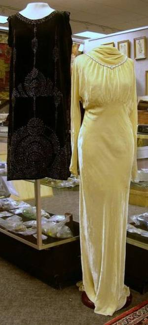 1920s Beaded Black Velvet Flapper Dress and a 1930s Beaded Yellow Velvet Gown