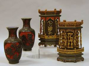 Pair of Chinese Cinnabar Vases and a Pair of Carved Giltwood and Lacquered Ornaments