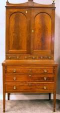 Federalstyle Inlaid Mahogany Writing DeskBookcase