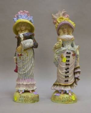 Pair of Continental Bisque Female French Fashion Figures