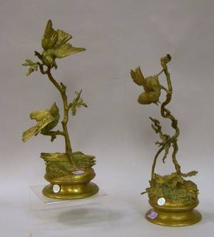 Pair of Late 19th Century French Bronze Figural Bird Groups