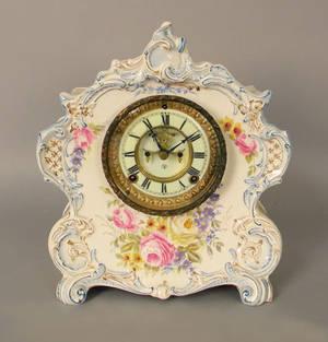 Ansonia La Vogue porcelain mantle clock with Royal Bonn case