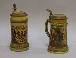 Two Mettlach Etched Stoneware Lidded Steins