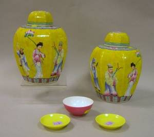 Three Small Chinese Monoglazed Bowls and a Pair of Chinese Scenic Decorated Porcelain Covered Jars