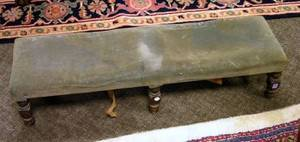 William  Mary Style Upholstered Mahogany Fireside Stool