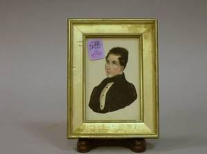 Framed 19th Century Miniature Watercolor Portrait of a Gentleman