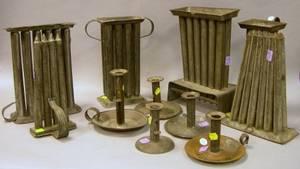 Six Tin Candle Molds and Five Tin Pushup Candlesticks