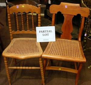Assembled Set of Seven Classical Caned Tiger Maple Side Chairs and a Set of Three Victorian Caned Spoolturned Side Chairs