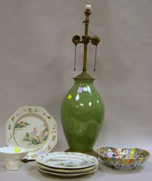 Set of Five Chinese Export Porcelain Plates a Green Crackle Glazed Vase Table Lamp a Figural Porcelain Cup a Pair of Jardinieres an