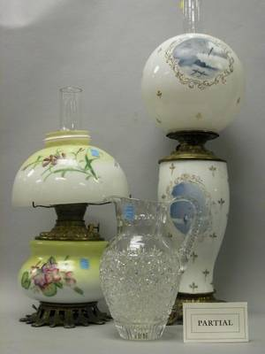 Two Art Glass Kerosene Lamps and a Cut Glass Pitcher