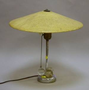 Mid20th Century Modern Chrome and Glass Table Lamp with Fiberglass Shade