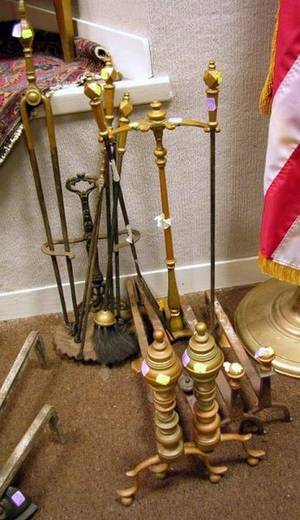 Pair of Brass Ringturned Andirons a Pair of Brass Balltop Andirons a Cast Iron Tool Stand and a Brass Tool Stand with Five Assorte