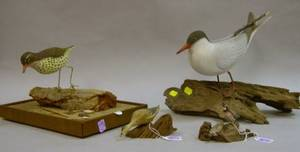 Russ P Burr Miniature Carved and Painted Duck Figure and Quail Figural Group and Bill Weikert Carved and Painted Shorebird and Seagul