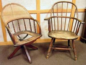 Early 20th Century Caned Oak Swivel Desk Chair and Oak Windsor Sackback Armchair