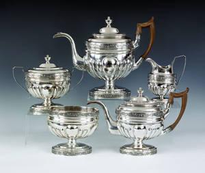 Philadelphia five piece silver tea service ca 1805