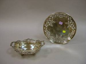Rodgers  Crull Sterling Silver Pastry Tray and a Sterling Silver Footed Bowl