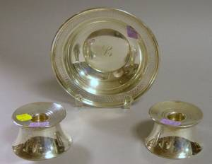 Sterling Silver Bowl and Pair of Gorham Sterling Silver Candleholders