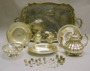 Three Sterling Silver Open Bowls a Whiting Footed Basket and a Silver Plated Serving Tray and Teapot