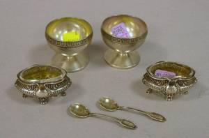 Pair of Gorham Sterling Silver Salts and a Pair of Continental Sterling Silver Salts with Spoons