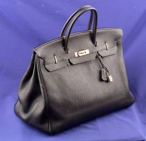 Ladys Black Togo Leather Handbag Hermes