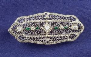Art Deco 14kt White Gold and Diamond Filigree Brooch