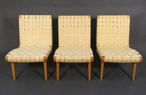 Set of 3 Jens Risom for Knoll Strap Lounge Chairs