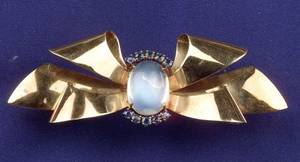 Retro 14kt Gold Moonstone and Sapphire Bow Brooch