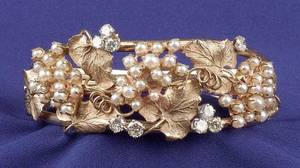 14kt Gold Diamond and Seed Pearl Bangle Bracelet