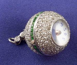 Art Deco Platinum Diamond and Demantoid Garnet Ball Watch