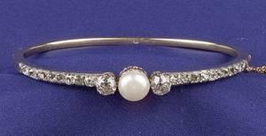 Antique Diamond and Pearl Bangle Bracelet