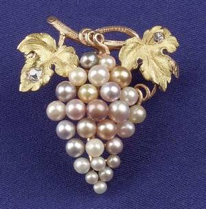 Antique Bicolor 14kt Gold Seed Pearl and Diamond PendantBrooch